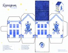 Gift Tags Printable, Printable Paper, Crafts To Do, Paper Crafts, Putz Houses, Mini Houses, House Template, Dutch House, Cross Stitch House