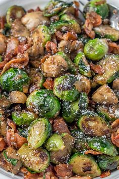 The easiest Brussel Sprouts Recipe, sauteed in a skillet with bacon and mushroom. A great side dish or appetizer for the holidays. Supper Recipes, Entree Recipes, Top Recipes, World Recipes, Sweets Recipes, Side Dish Recipes, Easy Dinner Recipes, Side Dishes, Easy Delicious Recipes