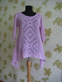 Купить Туника в стиле бохо - розовый, орнамент, туника, туника вязаная, туника крючком