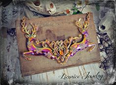 Huge Pink Amber Topaz Tattoo Chest piece Inspired Statement Necklace by LicoriceJewelry