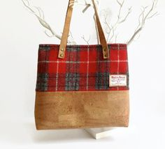 Cork and Harris Tweed Bag Eco Friendly Shoulder di MyCottonHouse