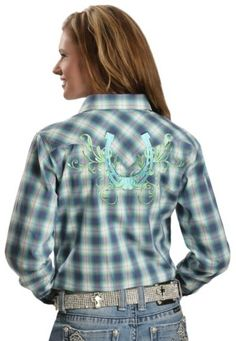 Cowgirl Hardware Plaid Hombre Horseshoe Long Sleeve Top available at #Sheplers