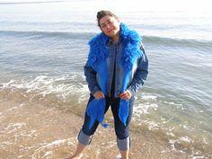 NAVY BLUE FLEECE artistic felted scarf with natural wool locks by LanAArt