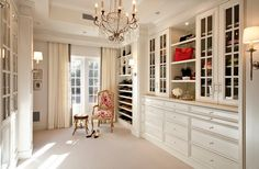 Traditional Closet With High Ceiling, California Closets Walk In Closet  Custom Cabinetry, Wall Sconce, Built In Bookshelf