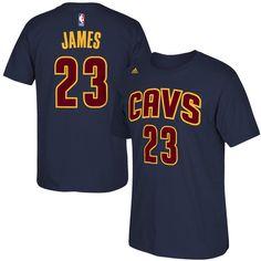a5ab0e29536 LeBron James Cleveland Cavaliers adidas Net Number T-Shirt - Navy Blue