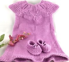 Pink Hand Knit Eli Baby Dress 12 months Caron Simply Soft Blackberry
