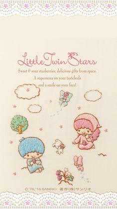 Little Twin Stars [Embroidery Wallpaper]