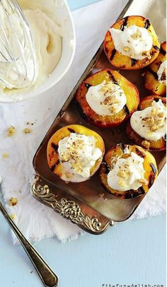 Grilled Peaches with Vanilla Cream & Walnuts Recipe| http://aol.it/1h8PTPI By @Ana Frias