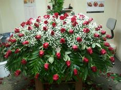 Lg Rose Casket Spray Funeral Bouquet, Funeral Flowers, Funeral Floral Arrangements, Flower Arrangements, Casket Flowers, Funeral Caskets, Funeral Sprays, Grave Decorations, Casket Sprays