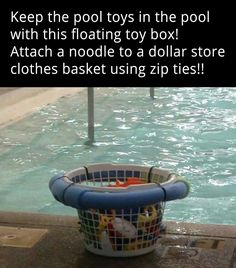 Looking for pool storage ideas? If you have a pool, I bet it's getting a lot of use now. Here are awesome pool storage ideas to keep it organized! Pool Toys For Kids, Kid Pool, Pool Fun, Swimming Pool Toys, Above Ground Pool, In Ground Pools, Pool Toy Organization, Organization Ideas, Pool Storage