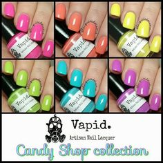 This listing is for the Full Size, 6 polish set. This pricing is limited to launch day (February 21st)You will receive one of each of the following colors:Bubble GumLollipopGumDropRock CandyLemon Drop Peach RingsPlease see individual listings for more information.Swatched by @LacqueredMama @nailedthepolish and @PolishedJess on Instagram