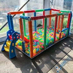 """Fiona sent us this photo and a message of the ball pit she made from PVC connectors and pipe """"So I made a ball pit for our 3 yo to play with at our wedding last weekend. He had so much fun in it. It's now set up in our garage for the fun to continue. Kids Play Area Indoor, Indoor Playroom, Kids Indoor Playground, Toddler Rooms, Toddler Play, Backyard For Kids, Diy For Kids, Baby Play Areas, Pvc Connectors"""