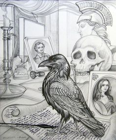 """Annie Shoemaker-MagdalenoPen & Ink drawings 11 hrs · This is """"Sorrow for the Lost Lenore"""" an illustration of Edgar Allan Poe's """"The Raven"""". It is a X Graphite and Pen and Ink combination. Edgar Alan Poe, Edgar Allan, Raven Art, Crows Ravens, Rabe, Halloween Drawings, Ink Pen Drawings, Mail Art, Colouring Pages"""