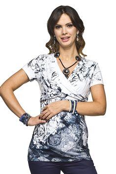 Bílé těhotenské tričko na kojení s květinami Blouse, Tops, Fashion, Moda, Fashion Styles, Blouses, Fashion Illustrations, Woman Shirt, Hoodie