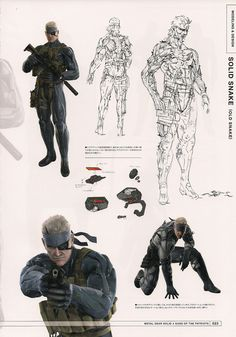 Solid (old) Snake from Metal Gear Solid 4 by Yoji Shinkawa