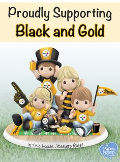 Proudly Supporting Black and Gold Steelers spirit is contagious! If your family is fans of the Black and Gold, the Precious Moments In This House, Steelers Rule figurine is a touchdown!