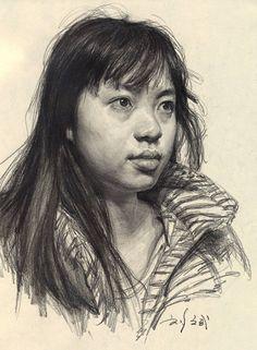 Asian female portrait drawing