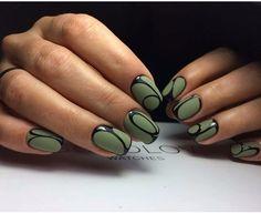 Evening nails, Evening nails by gel polish, Green and black nails, Green matte nails, Green nail art, Green nail designs, Green nail ideas, Green short nails
