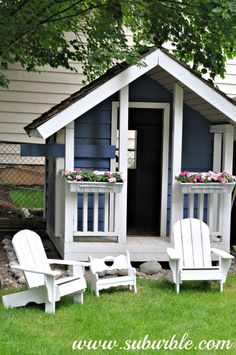Playhouse Project - Spray paint inexpensive plastic window boxes to add charm to the kids' playhouse - Suburble.com