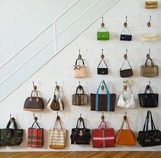 wall-purse-hooks-skirt-pr-office Handbag Storage, Diy Handbag, Handbag Organization, Closet Organization, Organization Ideas, Organizing, Hanging Purses, Hanging Racks, Wall Racks