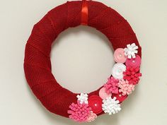 Valentine's Day Red Burlap Wreath by KimLKrafts on Etsy, $35.00