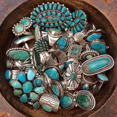 Turquoise   bowlful of jewelry