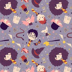 Harry Potter Pattern by Laura Langston on Behance #fanart #harrypotter