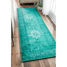 nuLOOM Vintage Inspired Adileh Overdyed Turquoise Runner Rug (2'8 x 8') - Free Shipping Today - Overstock.com - 18052111 - Mobile