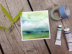 Mini painting Abstract watercolor landscape  Fine by SandraOvono