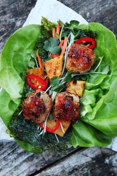Hawaiian Thai Meatball Lettuce Wrap. Great balls of deliciousness.