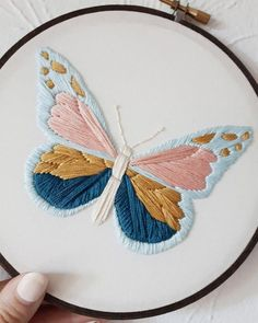 Best 11 Embroidery Patterns Butterfly Embroidery Hoop Nature Embroidery Botanical Art – Butterfly Embroidery Hoop Art – Ready To Ship This is a one of a kind piece of artwork framed in a hoop. It is ready to hang as the embroidery hoop acts as a frame. Hand Embroidery Projects, Embroidery Stitches Tutorial, Embroidery Flowers Pattern, Butterfly Embroidery, Simple Embroidery, Crewel Embroidery, Embroidery Hoop Art, Embroidery Ideas, Machine Embroidery