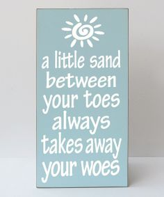 Bay Blue & White 'Toes' Plaque | zulily