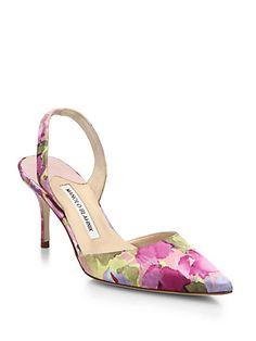 5a148e9c8d6 Manolo Blahnik - Floral-Print Satin Slingback Pumps Vintage Schuhe