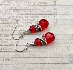 Red Earrings, Ruby Earrings, Bridal Earrings, Silver Earrings, Czech Glass…
