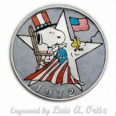 Snoopy's of July Ike Hobo Nickel Colored & Engraved by Luis A Ortiz Hobo Nickel, Hand Engraving, 4th Of July, Hand Carved, Snoopy, Ink, Ebay, Color, Things To Sell