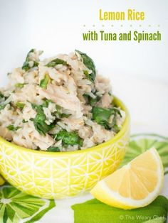 Lemon Rice Recipe with Tuna and Spinach is one of my easiest and healthiest dinners ever!: