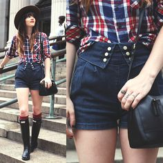 Hat, American Apparel Plaid Shirt, Topshop, Crossroads Trading Hunter Boots, Coach Bag  *gimme that pants!