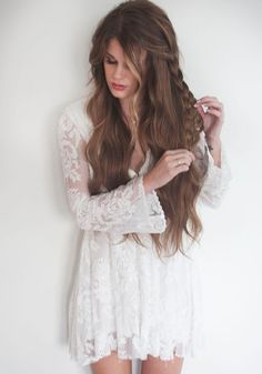 White Plain Hollow-out Grenadine Plunging Neckline Long Sleeve Lace Dress
