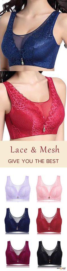 d7ddb9214ce8d Push Up Mesh Lace Breathable Comfy Wireless Bandeau Bra