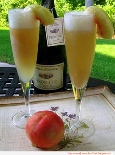 Peach Bellini recipe. We should totally drink these while we are getting ready for the wedding.
