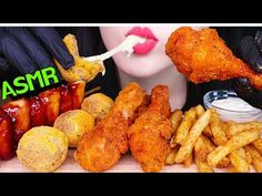 ASMR CHEESE BALLS, FRIED CHICKEN, FRIES, SAUSAGE BHC 핫뿌링클 치킨, 치즈볼, 소떡소떡, 감자튀김 먹방 (EATING SOUNDS) - YouTube Fried Chicken, Tandoori Chicken, Cheese Ball, Asmr, Popular Recipes, Sausage, Fries, Make It Yourself, Ethnic Recipes