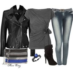 Women's Classy Rocker Outfit ~ Cute T-Shirt, Nice Jeans, Awesome Jacket, Sexy Boots! Love It! I Also Adore That Ring!