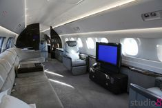 Private Jet business airplane cabin