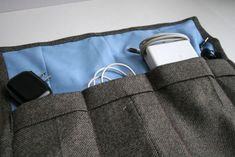 Manly Travel Power Cord Roll-Up made from Men's Suit Jacket (Upcycle)