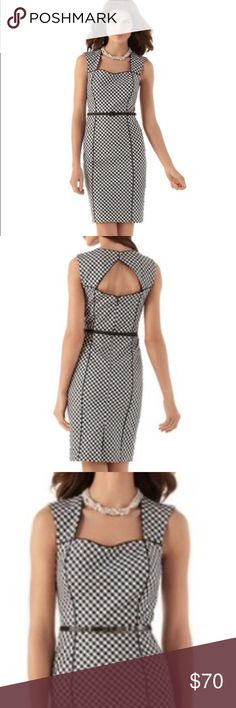 """White House Black Market Gingham Plaid Sheath Goth Princess seamed-sheath checks all the boxes. With a belted waist, curvy pencil skirt and cutout back that can be covered with a jacket, if you must. Includes grosgrain-covered belt with an adjustable buckle. Also styled with the Black Patent Skinny Metal Bow Belt.Shell: 97% Cotton 3% Spandex Double looped button closure above cutout back. Hidden back zip with hook-and-eye closure. Bar-tacked 6"""" back vent. Reverse silk charmeuse lining…"""
