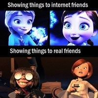 FunnyAnd offers the best funny pictures, memes, comics, quotes, jokes like - Internet Friends VS Real Friends Disney Memes, Disney Pixar, Funny Disney, Disney Princess Memes, Disney Films, Disney Fun, Disney Frozen, Funny Quotes, Funny Memes