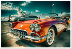 Red corvette chevrolet photography art by Dapixara.