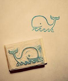 whale stamp + print