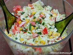 surowka-z-kapusty-pekinskiej-papryki-i-kukurydzy2 Slaw Recipes, Cabbage Recipes, Diet Recipes, Healthy Recipes, Healthy Food, Appetizer Salads, Appetizer Recipes, Appetizers, Gym Food