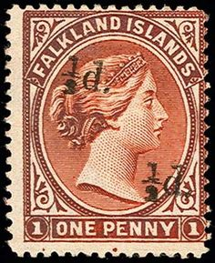 Falkland Islands, Scott 19Ef, SG 14a. 19Ef, 1891 ½d on 1d Orange red brown, Unsevered pair,  rich color, o.g., Fine and rare; 1972 RPS certificate (as SG 40a) (Scott $4,500; SG 14a, £4,750)